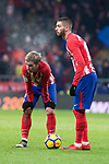 Atletico de Madrid Antoine Griezmann and Yannick Carrasco during La Liga match between Atletico de Madrid and Valencia C.F. at Wanda Metropolitano in Madrid , Spain. February 04, 2018. (ALTERPHOTOS/Borja B.Hojas)