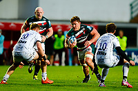 21st November 2020; Welford Road Stadium, Leicester, Midlands, England; Premiership Rugby, Leicester Tigers versus Gloucester Rugby; Jasper Wiese of Leicester Tigers looks to beat Freddie Clarke of Gloucester Rugby