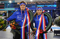 SCHAATSEN: HEERENVEEN: 16-12-2017, IJsstadion Thialf, NK Junioren Sprint, Jur Veenje, Femke Kok, B Junioren, ©foto Martin de Jong