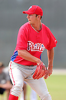 Philadelphia Phillies pitcher Ethan Stewart #58 during an Instructional League game against the Pittsburgh Pirates at Pirate City on October 11, 2011 in Bradenton, Florida.  (Mike Janes/Four Seam Images)