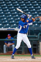 Wander Franco #32 of the AZL Royals bats against the AZL Rangers at Surprise Stadium on July 15, 2013 in Surprise, Arizona. AZL Rangers defeated the AZL Royals, 3-2. (Larry Goren/Four Seam Images)