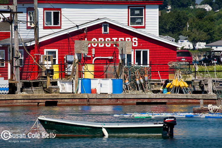 A bright red lobster pound on Bailey Island, Harpswell, ME, USA