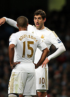 Barclays Premier League, Man City (blue) V Swansea City (white) Etihad Stadium, 27/10812<br /> Pictured: Danny Graham and Wayne Routledge <br /> Picture by: Ben Wyeth / Athena Picture Agency