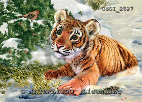 GIORDANO, CHRISTMAS ANIMALS, WEIHNACHTEN TIERE, NAVIDAD ANIMALES, paintings+++++,USGI2627,#XA# tigers