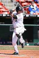 April 14th, 2008:  Aaron Herr (38) of the Buffalo Bisons, Class-AAA affiliate of the Cleveland Indians, during a game at Dunn Tire Park in Buffalo, NY.  Photo by:  Mike Janes/Four Seam Images