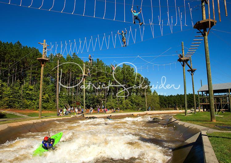 Photography of the high ropes River Course at the U.S. National Whitewater Center in Charlotte, North Carolina. <br /> <br /> Charlotte Photographer - PatrickSchneiderPhoto.com
