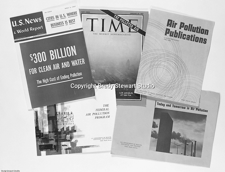 Client: U.S. Steel<br /> Ad Agency: Geyer Printing<br /> Product: Company's Annual Report<br /> Location: Brady Stewart Studio, 211 Empire Building on Liberty Avenue in Pittsburgh<br /> <br /> Collage of publications with Air Pollution covers for US Steel's 1967's Annual Report.