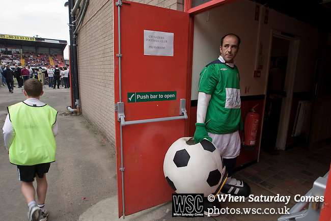 Crusaders 1 Fulham 3, 16/07/2011. Seaview Park, Europa League 2nd qualifying round first leg. The home team's club mascot waiting to start work at Seaview Park, Belfast before Northern Irish club Crusaders take on Fulham in a UEFA Europa League 2nd qualifying round, first leg match. The visitors from England won by 3 goals to 1 before a crowd of 3011. Photo by Colin McPherson.