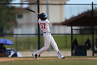 KeiJhuan James (57) of O'Fallon Township High School in Swansea, Illinois during the Under Armour Baseball Factory National Showcase, Florida, presented by Baseball Factory on June 12, 2018 the Joe DiMaggio Sports Complex in Clearwater, Florida.  (Nathan Ray/Four Seam Images)
