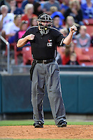 Umpire Chad Whitson makes a call during a game between the Syracuse Chiefs and Buffalo Bisons on July 23, 2014 at Coca-Cola Field in Buffalo, New  York.  Syracuse defeated Buffalo 5-0.  (Mike Janes/Four Seam Images)