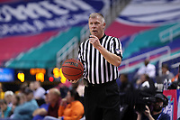 GREENSBORO, NC - MARCH 05: Official Thomas Danaher holds the ball during a game between Pitt and Georgia Tech at Greensboro Coliseum on March 05, 2020 in Greensboro, North Carolina.
