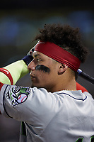 William Contreras (14) of the Gwinnett Stripers during the game against the Charlotte Knights at Truist Field on July 17, 2021 in Charlotte, North Carolina. (Brian Westerholt/Four Seam Images)