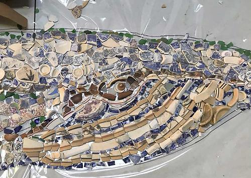 The Wexford blue whale mosaic takes shape