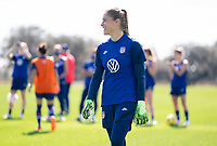 ORLANDO, FL - JANUARY 20: Aubrey Bledsoe #21 of the USWNT looks to the ball during a training session at the practice fields on January 20, 2021 in Orlando, Florida.