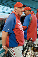 Philadelphia Phillies manager Charlie Manuel #41 before the Major League Baseball game against the Houston Astros at Minute Maid Park in Houston, Texas on September 12, 2011. Houston defeated Philadelphia 5-1.  (Andrew Woolley/Four Seam Images)