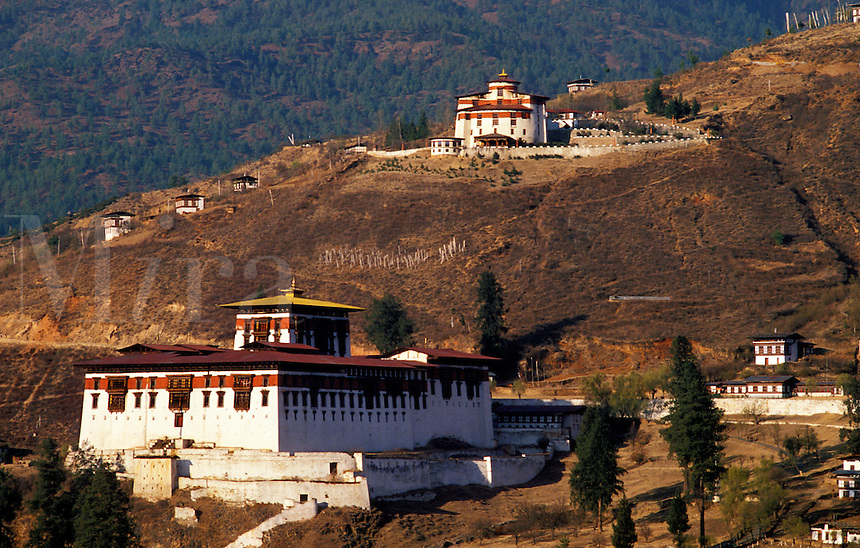 Bhutan.  Paro Valley.  The Rimpong Dzong with the Ta Dzong in the