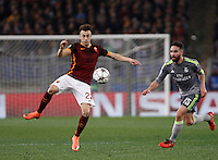 Calcio, andata degli ottavi di finale di Champions League: Roma vs Real Madrid. Roma, stadio Olimpico, 17 febbraio 2016.<br /> Roma's Stephan El Shaarawy, left, is challenged by Real Madrid's Dani Carvajal during the first leg round of 16 Champions League football match between Roma and Real Madrid, at Rome's Olympic stadium, 17 February 2016.<br /> UPDATE IMAGES PRESS/Isabella Bonotto
