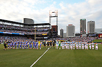 Chelsea and Manchester City players line up..Manchester City defeated Chelsea 4-3 in an international friendly at Busch Stadium, St Louis, Missouri.