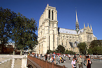 France  Notre Dame Cathedral and bridge over River Seine in Paris France