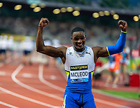 10th June 2021; Stadio Luigi Ridolfi, Florence, Tuscany, Italy; Muller Diamond League Grand Prix Athletics, Florence and Rome; Omar McLeod hands in the air as he celebrates winning the 110m hurdles