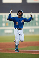 Wander Franco (5) of the Durham Bulls reacts after hitting a grand slam against the Jacksonville Jumbo Shrimp at Durham Bulls Athletic Park on May 15, 2021 in Durham, North Carolina. (Brian Westerholt/Four Seam Images)