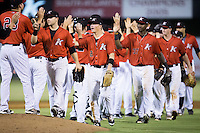 Kannapolis Intimidators outfielder Alex Call (2) high fives his teammates after their win over the Lakewood BlueClaws at Kannapolis Intimidators Stadium on August 11, 2016 in Kannapolis, North Carolina.  The Intimidators defeated the BlueClaws 3-1.  (Brian Westerholt/Four Seam Images)