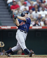 Jim Thome of the Cleveland Indians bats during a 2002 MLB season game against the Los Angeles Angels at Angel Stadium, in Los Angeles, California. (Larry Goren/Four Seam Images)