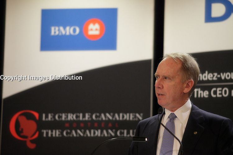April 29, 2013 - Montreal, Quebec,  CANADA -  William Downe, President & CEO of BMO Financial Group, at the Canadian Club of Montreal's podium.<br /> <br />  William Downe was appointed CEO on March 1, 2007.<br /> <br /> Operating under a single vision: to be the bank that defines great customer experience, BMO Financial Group is a North American bank that serves more than 12 million personal, commercial, corporate and institutional customers.