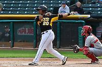 Luis Martinez (20) of the Salt Lake Bees at bat against the Memphis Redbirds at Smith's Ballpark on June 18, 2014 in Salt Lake City, Utah.  (Stephen Smith/Four Seam Images)