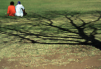 due persone sedute su un prato con ombra di albero<br />