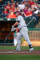 Frisco RoughRiders first baseman Trever Adams (29) hits a home run during a game against the Springfield Cardinals  on June 4, 2015 at Hammons Field in Springfield, Missouri.  Frisco defeated Springfield 8-7.  (Mike Janes/Four Seam Images)