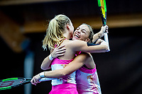 Alphen aan den Rijn, Netherlands, December 21, 2019, TV Nieuwe Sloot,  NK Tennis, Final woman's doubles: winners Sem Wensveen (NED) and  Dominique Karregat (NED) (L) embrace	<br /> Photo: www.tennisimages.com/Henk Koster