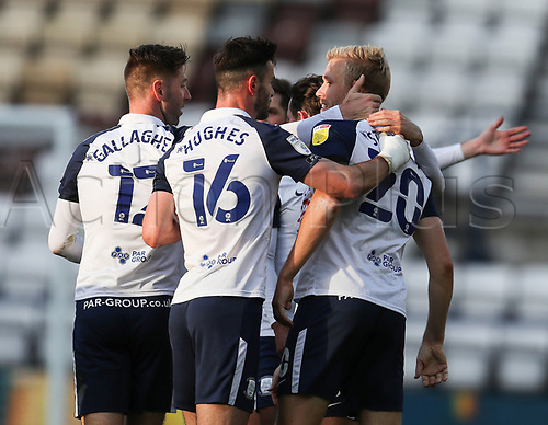 31st October 2020; Deepdale Stadium, Preston, Lancashire, England; English Football League Championship Football, Preston North End versus Birmingham City; Jayden Stockley of Preston North End celebrates with his team mates after scoring in the 24th minute to level the score at 1-1