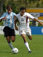 Federico Inzœa, left, Landon Donovan, right, Argentina vs. USA, Miami, Fla.