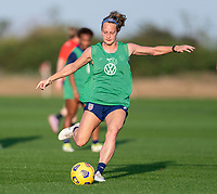 ORLANDO, FL - JANUARY 21: Jaelin Howell #26 of the USWNT takes a shot during a training session at the practice fields on January 21, 2021 in Orlando, Florida.