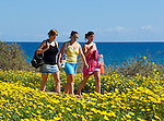CYPRUS, Protaras: three young women back from beach<br />
