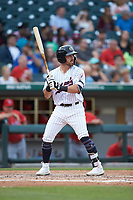 Danny Mendick (17) of the Charlotte Hornets at bat against the Louisville Bats at BB&T BallPark on June 22, 2019 in Charlotte, North Carolina. The Hornets defeated the Bats 7-6. (Brian Westerholt/Four Seam Images)