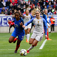 Harrison, NJ - Sunday March 04, 2018: Grace Geyoro, Morgan Brian during a 2018 SheBelieves Cup match match between the women's national teams of the United States (USA) and France (FRA) at Red Bull Arena.