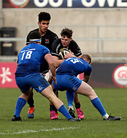 15 January 2021; Hayden Hyde is tackled by Jamie Osborne during the A Interprovincial match between Ulster and Leinster at Kingspan Stadium in Belfast. Photo by John Dickson/Dicksondigital