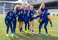CHICAGO, IL - OCTOBER 5: Crystal Dunn #19, Casey Short #26, Abby Dahlkemper #7, Mallory Pugh #2, Rose Lavelle #16, Allie Long #20 and Carli Lloyd #10 of the United States pose at Soldier Field on October 5, 2019 in Chicago, Illinois.