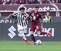 TORINO ITALY- October 2 <br /> Stadio Olimpico Grande Torino<br /> Antonio Sanabrian Weston Mckennie in action<br /> during the Serie A match between Fc  Torino and Juventus Fc at Stadio Olimpico on October 2, 2021 in Torino, Italy.