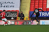Panutche Camara  of Plymouth Argyle shot goes wide during Charlton Athletic vs Plymouth Argyle, Emirates FA Cup Football at The Valley on 7th November 2020