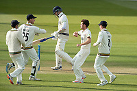 Ryan Higgins and Gloucestershire celebrate as Sam Robson departs during Middlesex CCC vs Gloucestershire CCC, LV Insurance County Championship Group 2 Cricket at Lord's Cricket Ground on 7th May 2021