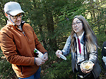 WOODBURY, CT. - 12 May 2021-051221SV03-From left, Jim Sherman of The Woodbury Conservation Commission and Carole Cheah, a research entomologist with the CT Agricultural Experiment Station, release lady beetle that eats the invasive Hemlock Woody Adelgid at Nonnawaug Falls in Woodbury Wednesday.<br /> Steven Valenti Republican-American