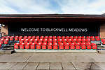 Welcome to Blackwell Meadows sign, by the tunnel. Darlington 1883 v Southport, National League North, 16th February 2019. The reborn Darlington 1883 share a ground with the town's Rugby Union club. <br />