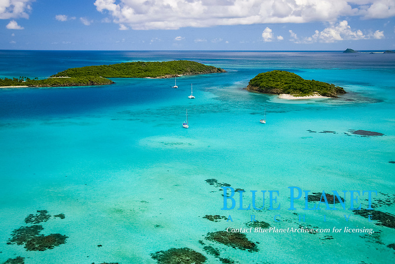 aerial, Tobago Cays, southern Grenadines, St. Vincent and the Grenadines, Caribbean, Atlantic Ocean