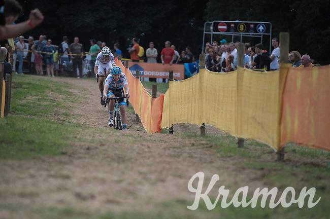 Michael Vanthourenhout (BEL/Marlux-NapoleonGames) leading the race in the last lap ahead of World Champion Wout Van Aert (BEL/Crelan-Vastgoedservice)<br /> <br /> Brico-cross Geraardsbergen 2016<br /> U23 + Elite Mens race