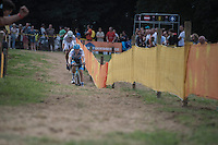 Michael Vanthourenhout (BEL/Marlux-NapoleonGames) leading the race in the last lap ahead of World Champion Wout Van Aert (BEL/Crelan-Vastgoedservice)<br /> <br /> Brico-cross Geraardsbergen 2016<br /> U23 + Elite Mens race