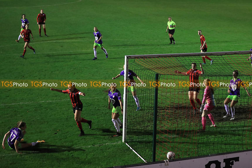 Rhian Cleverly of Lewes celebrates scoring during Lewes Women vs Bristol City Women, FA Women's Continental League Cup Football at The Dripping Pan on 18th November 2020