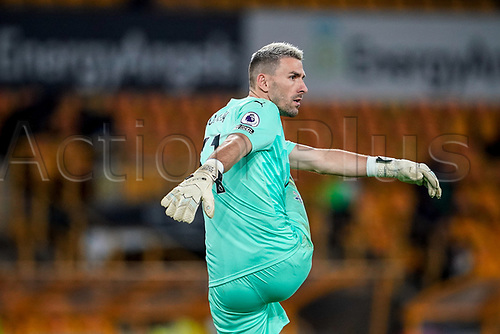30th October 2020; Molineux Stadium, Wolverhampton, West Midlands, England; English Premier League Football, Wolverhampton Wanderers versus Crystal Palace; Vicente Guaita of Crystal Palace keeps warm and loose during the game